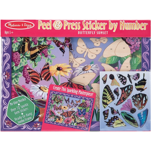 Peel And Press Sticker By Number-Butterfly Sunset