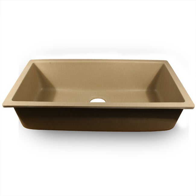 Highpoint Collection Single Bowl Granite Composite Undermount Kitchen Sink in Sand