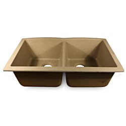 Highpoint Collection 50/50 Double Bowl Granite Composite Undermount Kitchen Sink in Sand