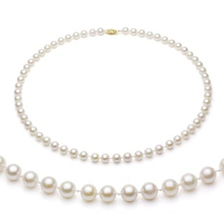 DaVonna 14k Gold White Akoya Pearl High Luster 18-inch Necklace (7.5-8 mm)