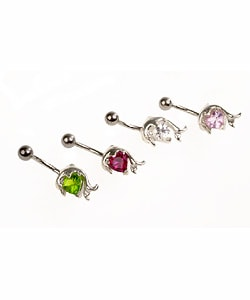 CGC Stainless Steel Jeweled Dolphin Barbell Belly Ring (Limited Edition)