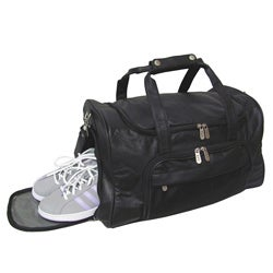 Amerileather 18-inch Leather Black Carry-on Durable Sports Duffel Bag