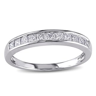 Miadora 14k White Gold 1/2ct TDW Princess Channel-set Diamond Wedding Band (G-H, I1-I2)
