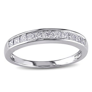 Miadora 14k White Gold 1/2ct TDW Princess Channel-set Diamond Wedding Band (G-H, I1-I2) with Bonus Earrings