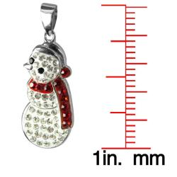 Sterling Silver Crystal Snowman Necklace