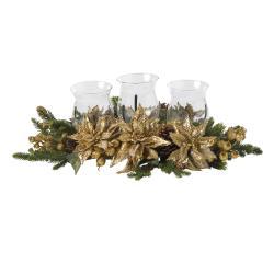 Golden Poinsettia Triple Candelabrum Silk Plant