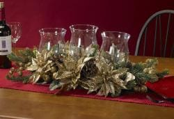 Golden Poinsettia Triple Candelabrum Silk Plant