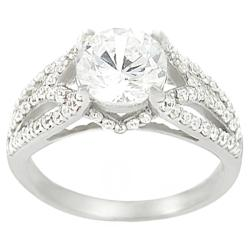 Journee Sterling Silver Round-cut CZ Ring
