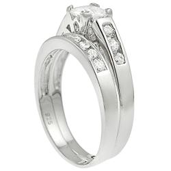 Tressa Sterling Silver Square-cut Cubic Zirconia Bridal Ring Set