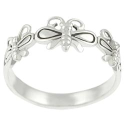 Tressa Sterling Silver Three Butterfly Ring