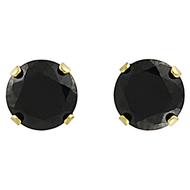 Journee Collection Sterling Silver Vermeil 6-mm Round-cut Black CZ Earrings
