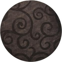 Hand-tufted Mandara Brown Geometric Rug (7'9 Round)