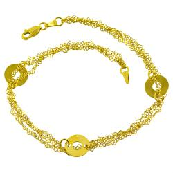 14k Yellow Gold Triple-strand Loop Station Anklet