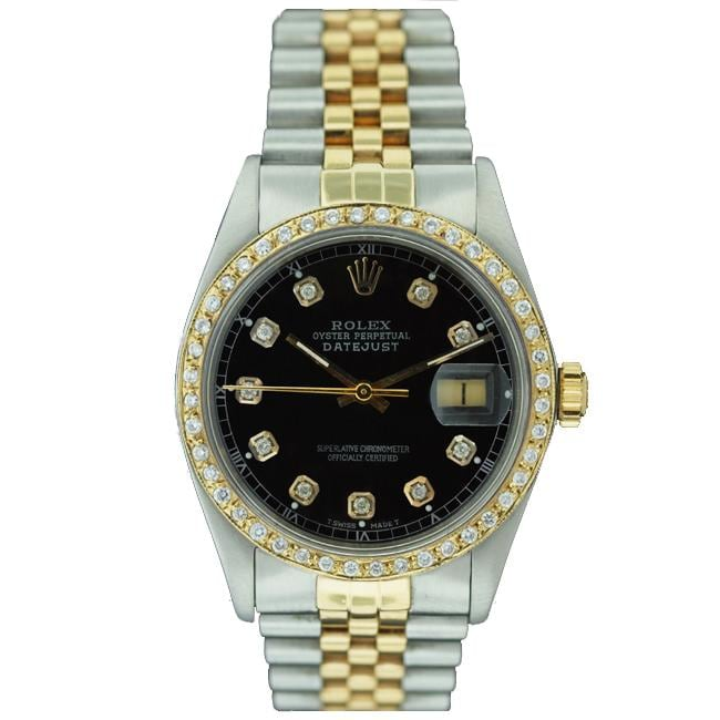 Pre-owned Rolex Men's Datejust Two-tone Black Dial Diamond Watch