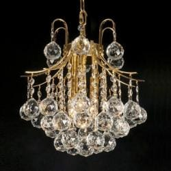 Indoor 3-light Crystal/ Gold Mini Chandelier