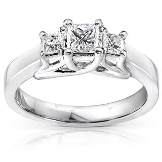 Annello 14k Gold 1/2ct TDW Princess Diamond Ring (H-I, I1-I2)