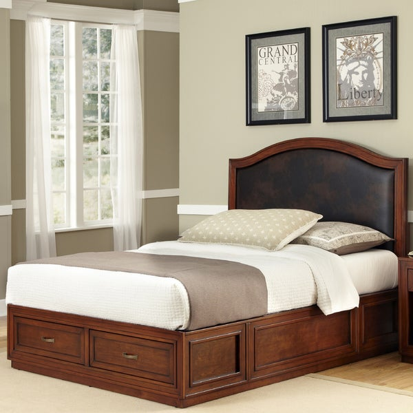 Home Styles Duet Platform Queen Brown Leather Inset Bed