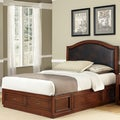 Brown Leather Inset Duet Platform King-size Camelback Bed