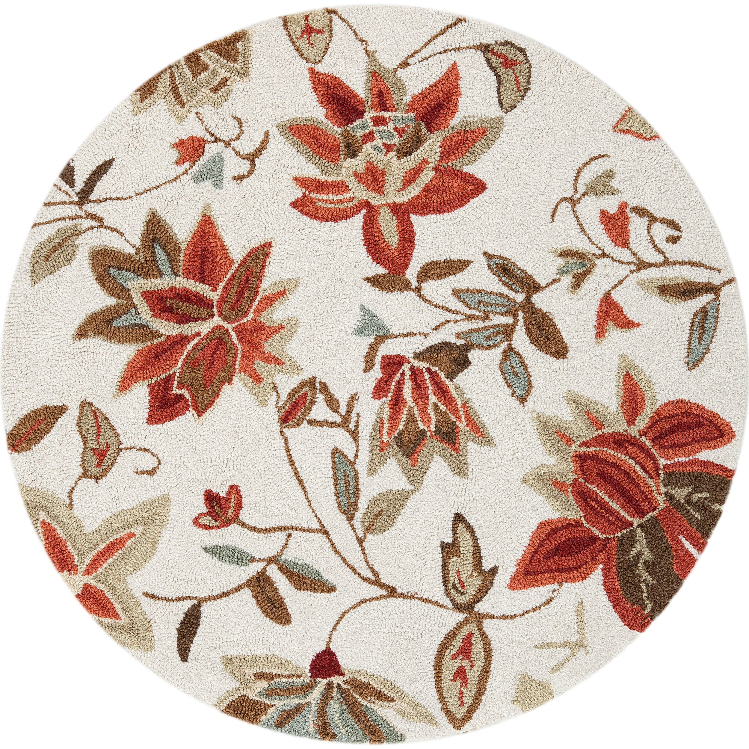 Hand-hooked Bigelow Mossy Ivory Rug (3' Round)