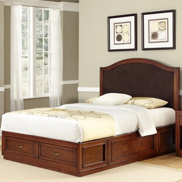 Duet Mahogany Platform King Camelback Microfiber Inset Bed
