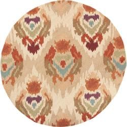 Hand-hooked Dover Mossy Gold Rug (4' Round)