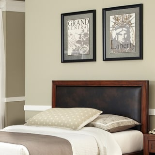 Duet King/California King Panel Headboard Brown Leather Inset