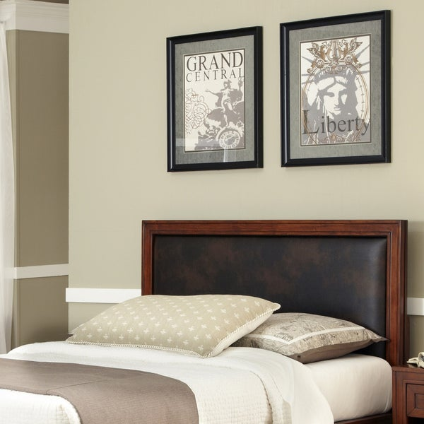 Home Styles Duet King/California King Panel Headboard Brown Leather Inset