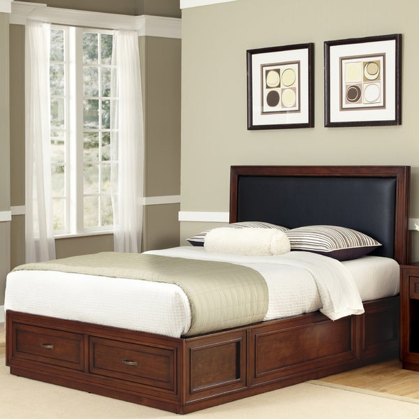Home Styles Duet Platform King Panel Bed Black Leather Inset