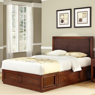 Duet Platform King Panel Bed Brown Microfiber Inset