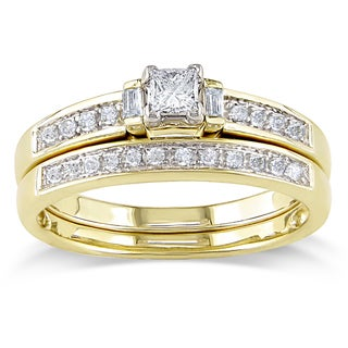 Miadora 14k Yellow Gold 1/3ct TDW Diamond Bridal Ring Set (G-H, I1-I2)