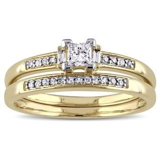 Miadora 14k Yellow Gold 1/3ct TDW Diamond Bridal Ring Set (G-H, I1-I2)