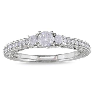 Miadora 14k White Gold 1/2ct TDW Diamond 3-stone Ring (G-H, I1-I2)