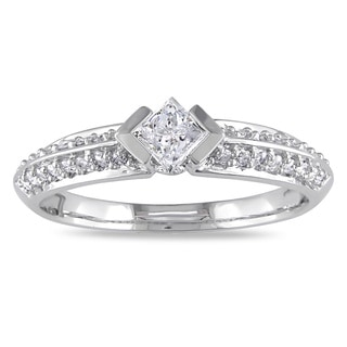 Miadora 14k White Gold 1/2ct TDW Princess Cut Pave Band Diamond Ring (G-H, I1-I2)