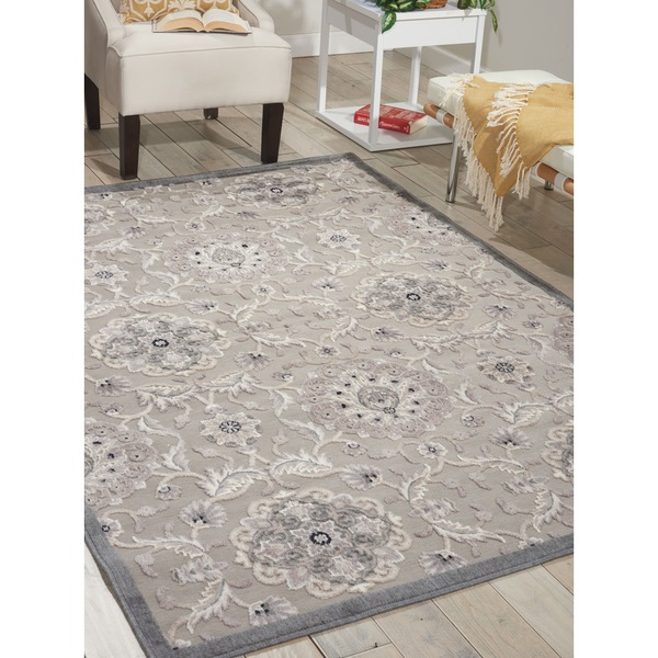 Nourison Graphic Illusions Grey Modern Transitional Rug (7'9 x 10'10)