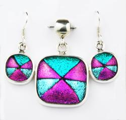 Sterling Silver Dichroic Glass Pendant & Earring Set (Mexico)