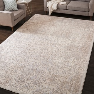 Nourison Graphic Illusions Beige Antique Damask Pattern Rug (3'6 x 5'6)