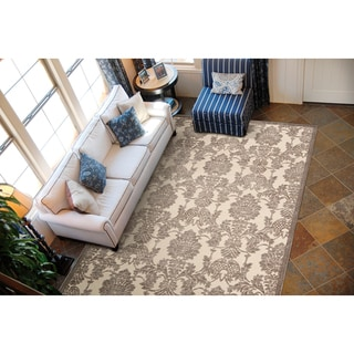 Nourison Graphic Illusions Damask Ivory Latte Rug (3'6 x 5'6)