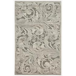 Nourison Graphic Illusions Silver Swirl Transitional Multi Rug (3'6 x 5'6)