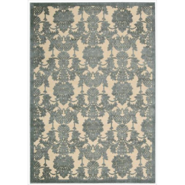 Damask Flatweave Rug: Nourison Graphic Illusions Damask Teal Rug (3'6 X 5'6