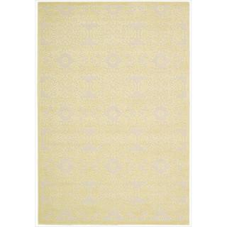Nourison Graphic Illusions Damask Yellow Cream Rug (5'3 x 7'5)