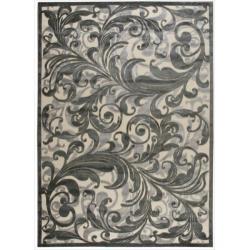 Nourison Graphic Illusions Black Swirl Multi Transitonal Rug (5'3 x 7'5)