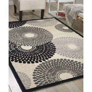 Nourison Graphic Illusions Circular Black Multi Color Rug (5'3 x 7'5)