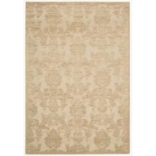 Nourison Graphic Illusions Damask Light Gold Rug (5'3 x 7'5)