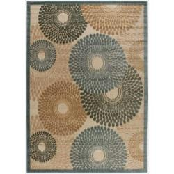 Nourison Graphic Illusions Circular Teal Rug (5'3 x 7'5)