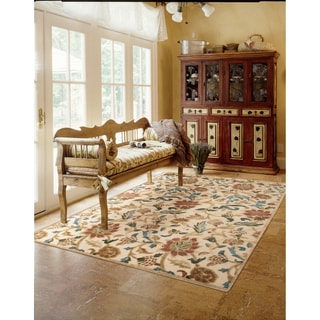 Nourison Graphic Illusions Floral Light Gold Rug (5'3 x 7'5)