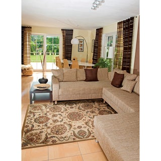 Nourison Graphic Illusions Medallion Beige Multi Color Rug (5'3 x 7'5)