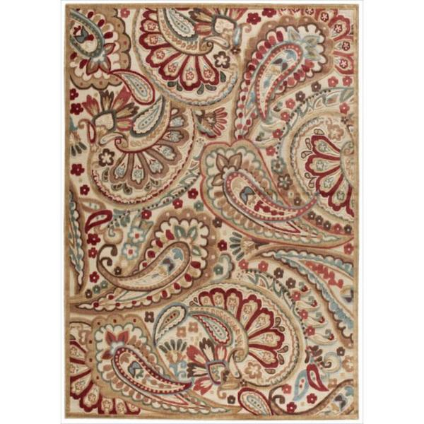 Nourison Graphic Illusions Paisley Red Multicolor Rug (5'3 x 7'5)