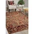 Graphic Illusions Paisley Red Multicolor Rug (5&#39;3 x 7&#39;5)