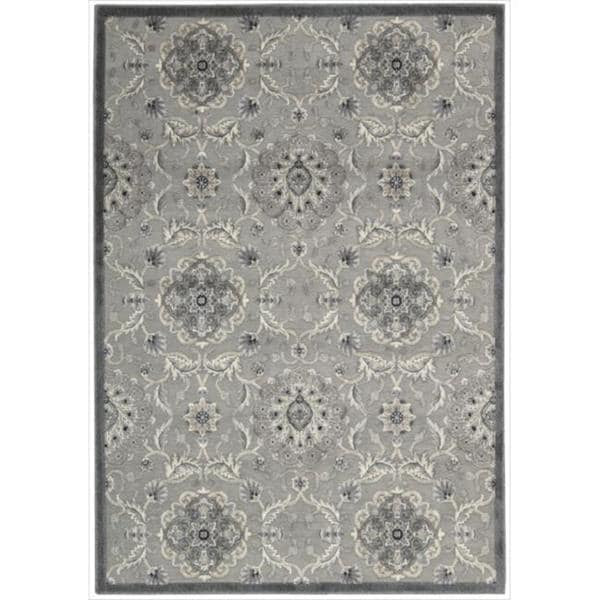 Nourison Graphic Illusions Grey Modern Traditional Rug (5'3 x 7'5)