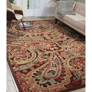 Graphic Illusions Paisley Red Multicolor Rug (7'9 x 10'10)